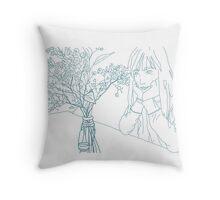 pale blue girl Throw Pillow