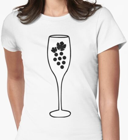 Wine Glass and Grapes Womens Fitted T-Shirt