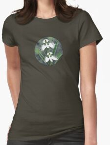White egret orchid flowers (Habenaria Radiata) Womens Fitted T-Shirt