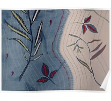 Willow and Clematis Leaves. Print of embroidered textile. Poster