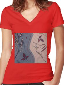Willow and Clematis Leaves. Print of embroidered textile. Women's Fitted V-Neck T-Shirt