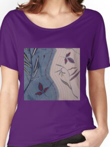 Willow and Clematis Leaves. Print of embroidered textile. Women's Relaxed Fit T-Shirt