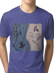 Willow and Clematis Leaves. Print of embroidered textile. Tri-blend T-Shirt