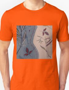 Willow and Clematis Leaves. Print of embroidered textile. T-Shirt
