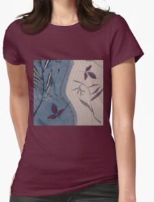 Willow and Clematis Leaves. Print of embroidered textile. Womens Fitted T-Shirt