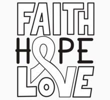 Faith Hope Love - Lung Cancer Awareness One Piece - Long Sleeve