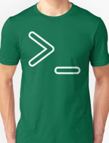 Shell Prompt >_ Indicated with greater than and underscore signs Unisex T-Shirt