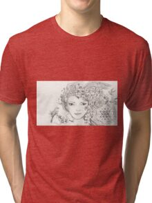 Shamanic Girl With Blossoms, Mandala And Birds Tri-blend T-Shirt