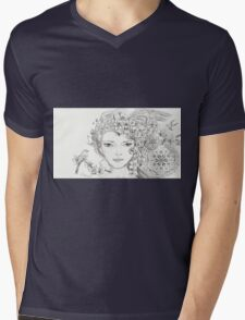 Shamanic Girl With Blossoms, Mandala And Birds Mens V-Neck T-Shirt