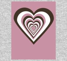 Pink, Brown and White Hearts One Piece - Short Sleeve