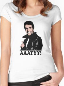 The Fonz Happy Days Aaayyy! T-Shirt Women's Fitted Scoop T-Shirt