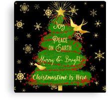 Christmas Tree, Joy, Peace on Earth, text art Canvas Print