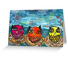 Three Little Owls Greeting Card