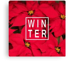 "Beautiful ""Winter"" Typography & Poinsettias Canvas Print"