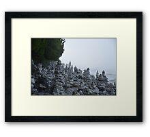 Rock Stacks in Cave Point Park Framed Print