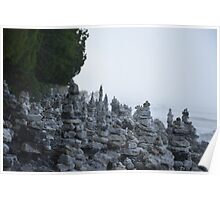 Rock Stacks in Cave Point Park Poster