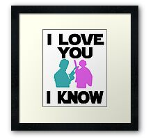Star Wars Han Solo and Princess Leia 'I love You, I Know' design Framed Print