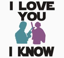 Star Wars Han Solo and Princess Leia 'I love You, I Know' design Kids Tee