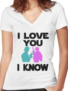 Star Wars Han Solo and Princess Leia 'I love You, I Know' design Women's Fitted V-Neck T-Shirt