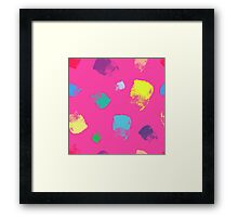Dry brush hand drawn sketch artsy background neon colours Framed Print