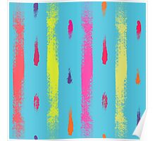 Dry brush hand drawn sketch artsy background neon colors Poster