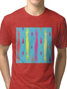 Dry brush hand drawn sketch artsy background neon colors Tri-blend T-Shirt