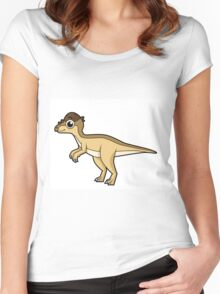 Cute illustration of a Pachycephalosaurus dinosaur. Women's Fitted Scoop T-Shirt