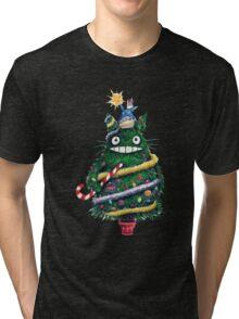 Totoro Christmas Tree Tri-blend T-Shirt