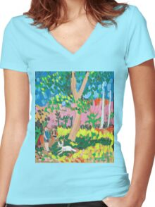 Dog Day in the Park Women's Fitted V-Neck T-Shirt