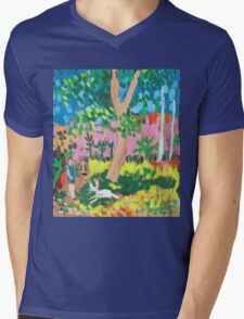 Dog Day in the Park Mens V-Neck T-Shirt