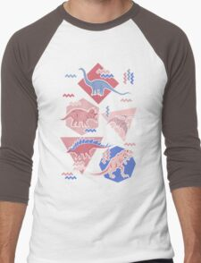 90's Dinosaur Pattern - Rose Quartz and Serenity version Men's Baseball ¾ T-Shirt