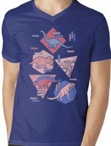 90's Dinosaur Pattern - Rose Quartz and Serenity version Mens V-Neck T-Shirt