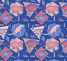 90's Dinosaur Pattern - Rose Quartz and Serenity version by chobopop
