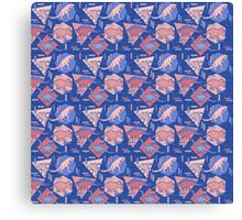90's Dinosaur Pattern - Rose Quartz and Serenity version Canvas Print