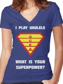 I PLAY UKULELE WHAT IS YOUR SUPERPOWER? Red/Yellow on Blue Parody Design Women's Fitted V-Neck T-Shirt