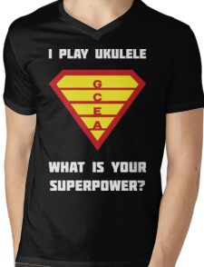 I PLAY UKULELE WHAT IS YOUR SUPERPOWER? Red/Yellow on Blue Musician Design Mens V-Neck T-Shirt