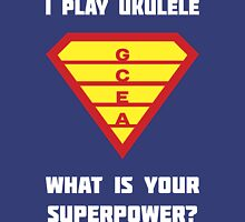 I PLAY UKULELE WHAT IS YOUR SUPERPOWER? Red/Yellow on Blue Parody Design Unisex T-Shirt