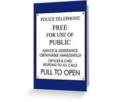Tardis Sign/ Policebox Notice Greeting Card