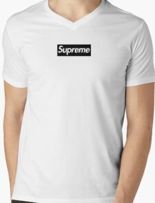 "SUPREME BLACK BOX LOGO / CUSTOM ""GLITCH"" Mens V-Neck T-Shirt"
