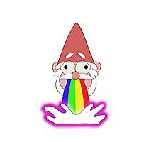 Rainbow Puking Gnome! Photographic Print