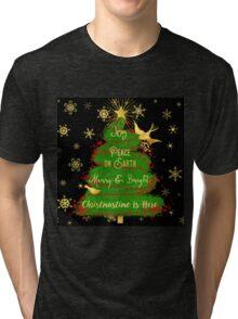 Christmas Tree, Joy, Peace on Earth, text art Tri-blend T-Shirt