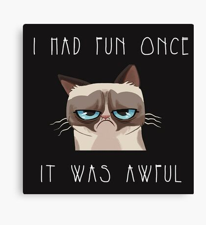 I had fun once, it was awful. Cat Canvas Print