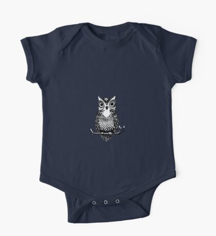 Black and White Drawn Owl One Piece - Short Sleeve