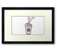 Bunny starbucks Framed Print