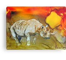 Rhino At Sunset In Alcohol Inks Metal Print