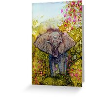 Springtime Elephant In Alcohol Ink Greeting Card