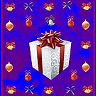 Christmas in Blue - Gift and Bells Christmas Card by BlueMoonRose