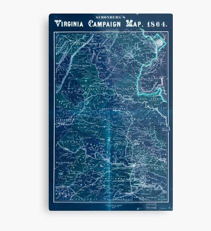 Civil War Maps 1558 Schonberg's Virginia campaign map 1864 Inverted Metal Print