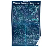 Civil War Maps 1558 Schonberg's Virginia campaign map 1864 Inverted Poster