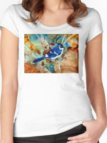 Blue Jay In a Tree Women's Fitted Scoop T-Shirt